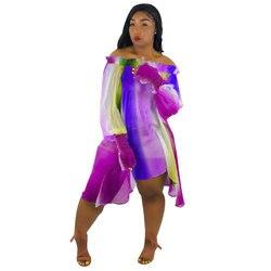 Sukienka Neon Sukienka kobiety lato paski Off Shoulder szyfonowa plaża sukienki luźne woal nieregularny tęczowy Sukienka z włókna Plus rozmiar 2