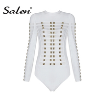 2017 New Women S Sexy Bandage Long Sleeve Bodysuits Mesh Patchwork Beading Bodysuits
