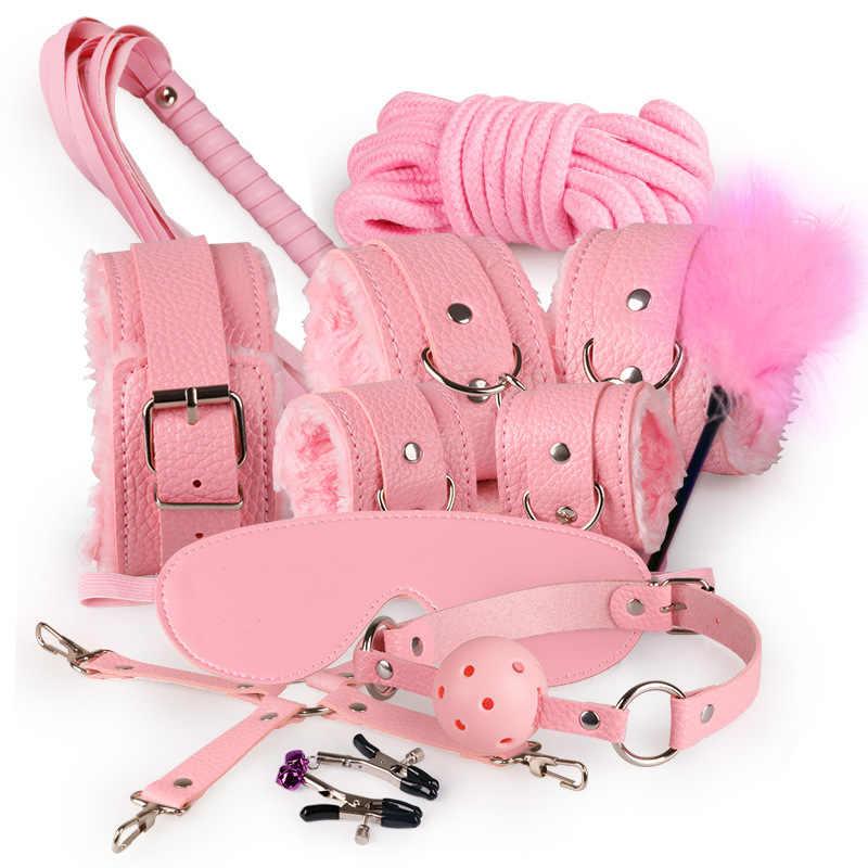10 шт./партия SM Эротические товары игрушки для взрослых БДСМ секс бандаж набор наручники зажимы для сосков кляп секс для кнута веревка Секс игрушки для пар