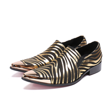 zapatos hombre vestir gold striped steel toe dress wedding shoes male genuine leather slip on flats causal office prom shoes men