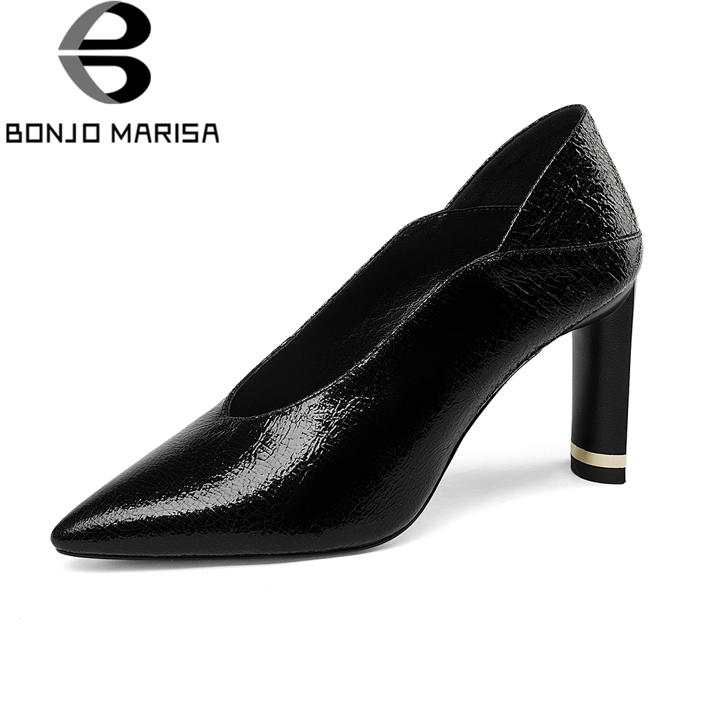 BONJOMARISA Brand Quality Pointed Toe Pumps Women Genuine Leather Autumn slip-on Mules Ol High Heels Shoes Woman Work Shoes 8ch 1080p hd realtime onvif poe network video recorder dahua hikvision 2mp poe camera support 8ch poe nvr recorder 48v poe nvr