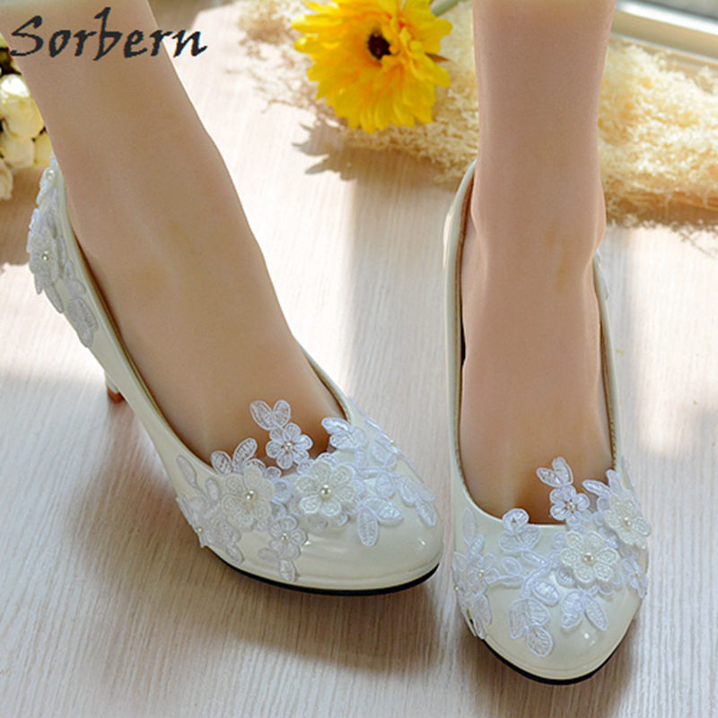 Sorbern Women Pumps Bridal Wedding Pump Shoes Lace Appliques Beads Elegant Bridesmaid Girls Party Shoes 2018 Handmade Flower new arrival white wedding shoes pearl lace bridal bridesmaid shoes high heels shoes dance shoes women pumps free shipping party