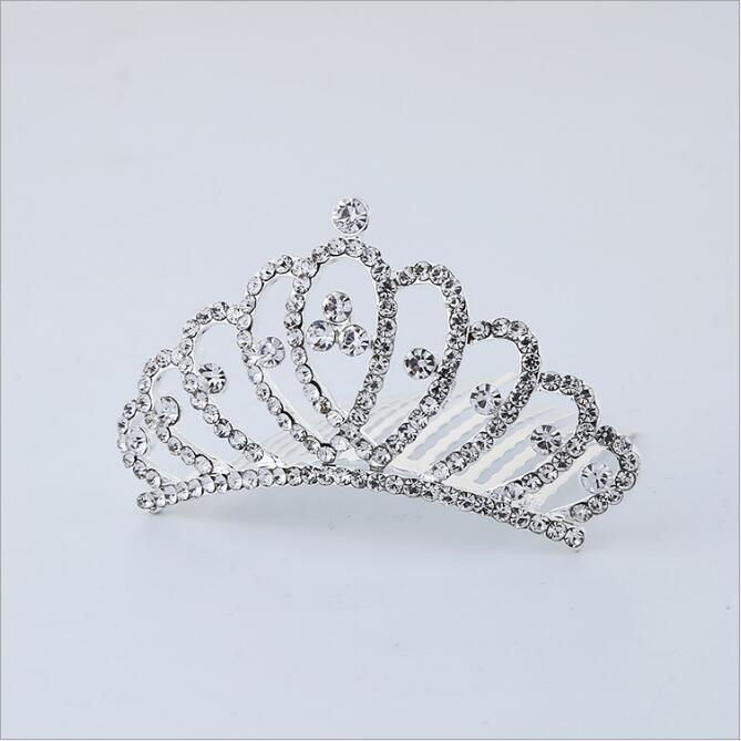 Princess Crown Flower Girls Hair Accessories Headwear Gum for Children Kids Head Tiara Hair Combs kk1702