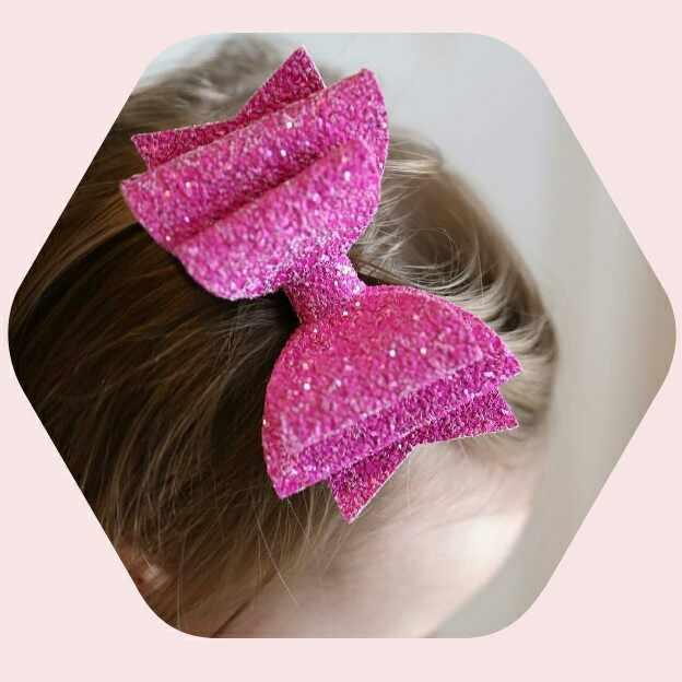 PINK Glitter Barrette Hair Clip