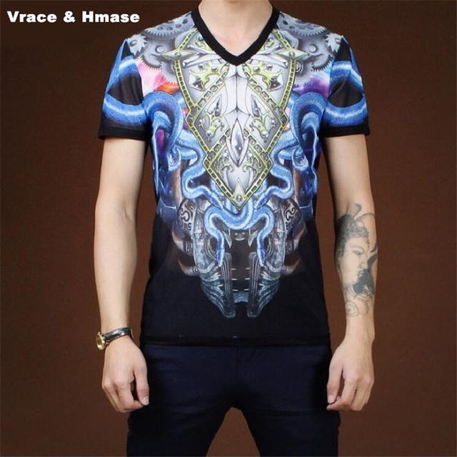 a661596363 US $24.99 |Floral totem printing Korean style fashion slim short sleeve t  shirt Summer 2017 New stretch mesh breathable quality t shirt men-in ...