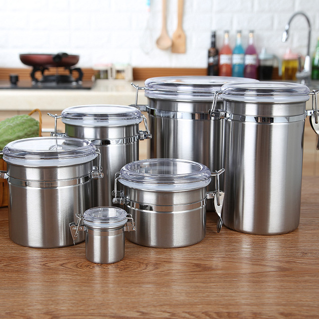 Stainless Steel Sealed Canister Tanks Coffee Bean Sugar Tea Storage Jar  Bottle Kitchen Small Size Can