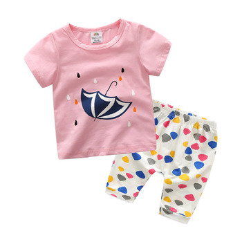 Children's Clothing Set Summer Baby Boy Short Sleeve T-shirt Casual Cotton Pant Clothes Set for Kids Boys Girls 4-14 Years