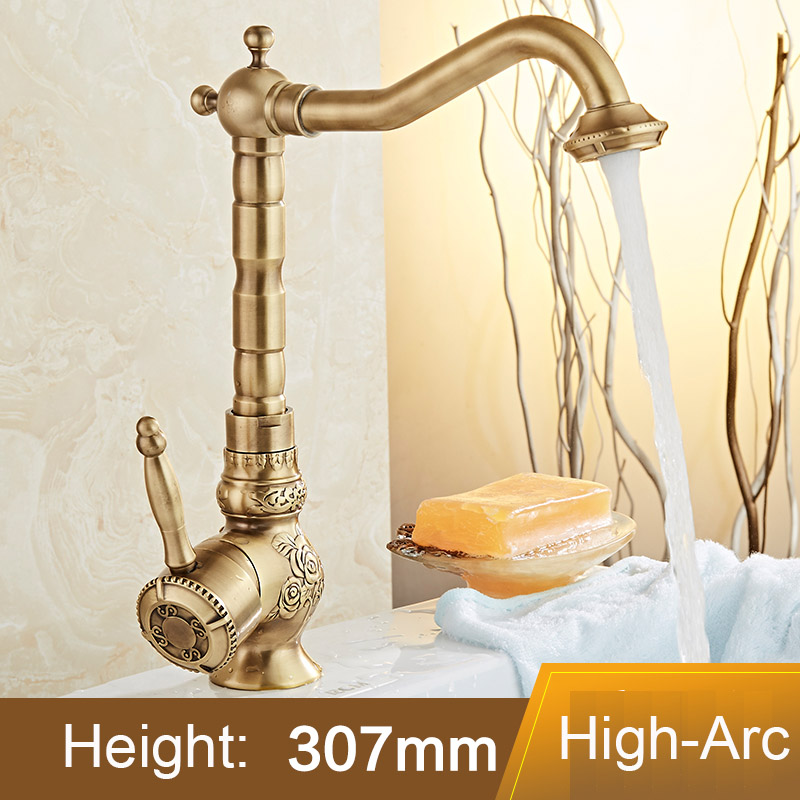 Bathroom Sink Lavatory Faucet, Vessel Antique Finish Tall Spout Cold, Basin Faucet Basin Copper Mixer Taps, Classical Art CarvedBathroom Sink Lavatory Faucet, Vessel Antique Finish Tall Spout Cold, Basin Faucet Basin Copper Mixer Taps, Classical Art Carved
