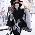 2016 mulheres da marca inverno cashmere poncho xadrez geométrica capa xale moda grande pashmina quente