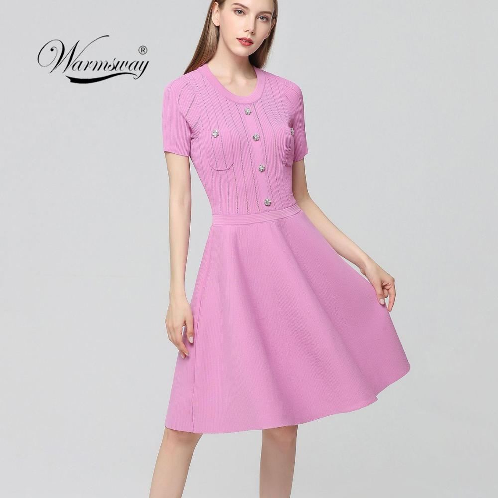 Runway Summer Dress 2019 Elegant Lady Knitted A line Party Dresses Women Short Sleeve Diamonds Buttons