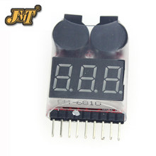 JMT 100pcs 1S-8S Dual Speaker 2 IN 1 LiPo Battery Voltage Checker Indicator Tester LED & low voltage buzzer alarm combo(China)