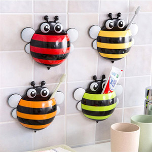Image 2 - Storage Boxes Cute Bee Wall Mounted Toothbrush Holder Wall Children Sucker Toothpaste Bathroom Cases Accessories