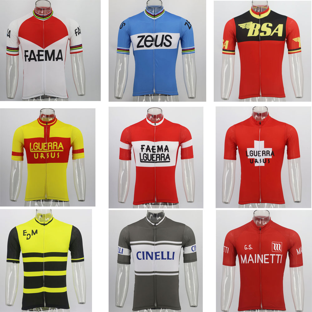 Retro Cycling Jersey Bike-Wear Short-Sleeve Classic Summer Men Ropa-Ciclismo title=