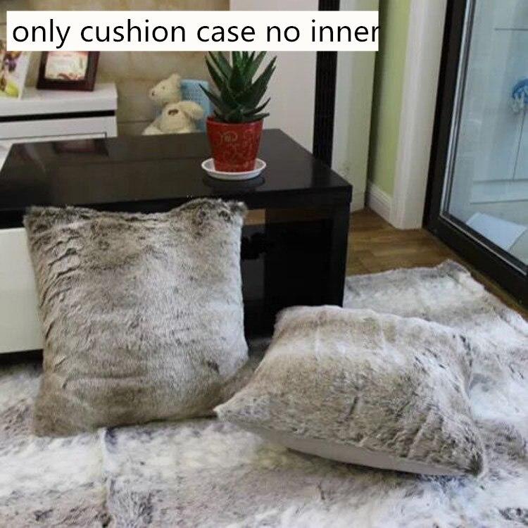 Sofa Lumbar Pillow Cover 45cm Decorative Faux Fur Plush Cushion Cover