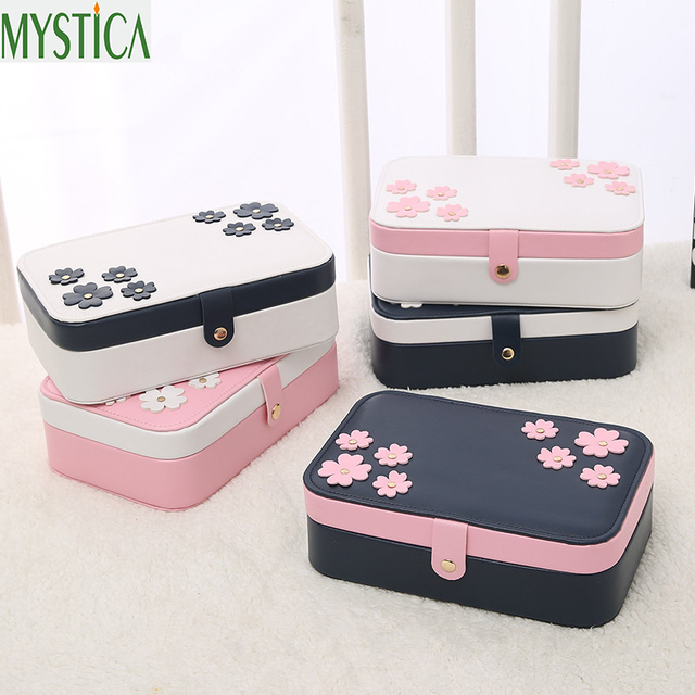 Leather Jewelry Storage Box Makeup Earrings Necklace Pendant Organizer Boxes Carrying Cases Women Container Birthday Gifts