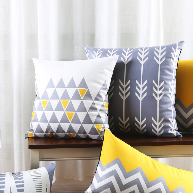 Gray Decorative Throw Pillows Case Sofa Modern Geometric Cushion Cover Home Decor Grey Velvet Yellow Chair Pillowcase 45x45cm