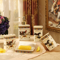 Five piece Set ceramics Soap Dispenser/Toothbrush Holder/Tumbler/Soap Dish Bathroom Accessories Set Bathroom Products