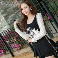 Dabuwawa Brand 2017 Top Spring Hitz Slim Lace Sleeve Big Sizes Long Sleeve Fashion Black Flower
