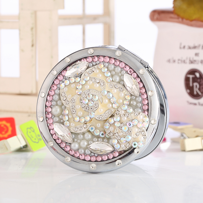 Engrave words free,bling rhinestone pearl Camellia flower,Mini Beauty pocket makeup compact mirror,wedding party souvenir gifts