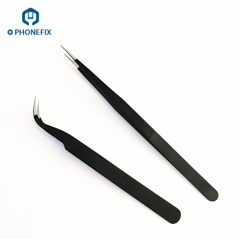 PHONEFIX Stainless Steel Tweezers Electronic IC Chips Removal Tool Tweezers Soldering for iPhone Motherboard Repair Forceps