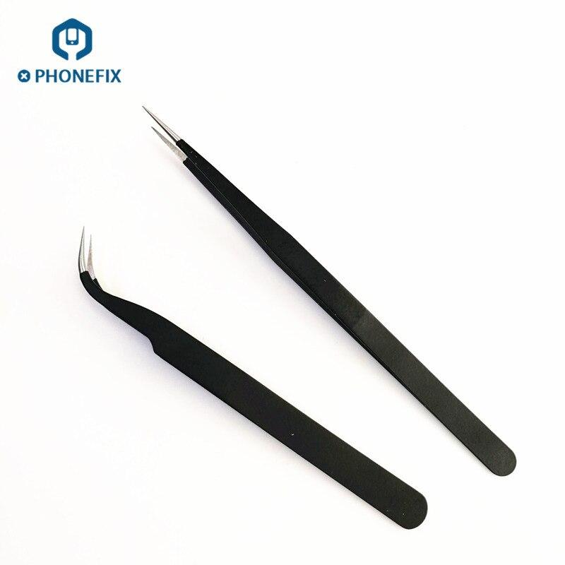 PHONEFIX Stainless Steel Tweezers IC Chips Motherboard Repair Tweezers For IPhone Motherboard Repair Electronics Repair Tools