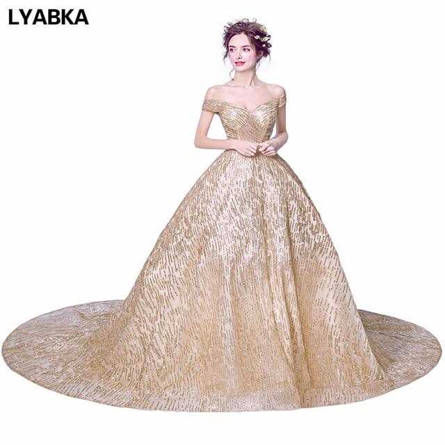 Evening Dress Hot Sale Dubai Gold Sequined Evening Dresses Ball Gown ...