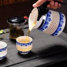 Набор из 3 предметов, ручной работы, соты, керамический кунг-фу набор, чайник, чайная чашка, синий и белый, Китай, удобный чайник для заварки чая, кофе, чайник