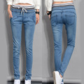 2016 Autumn Slim Fit Long Denim Pants Plus Size Elastic Waist Trousers Thin Ribbed Casual Strap Women Jeans Blue Pencil Pants