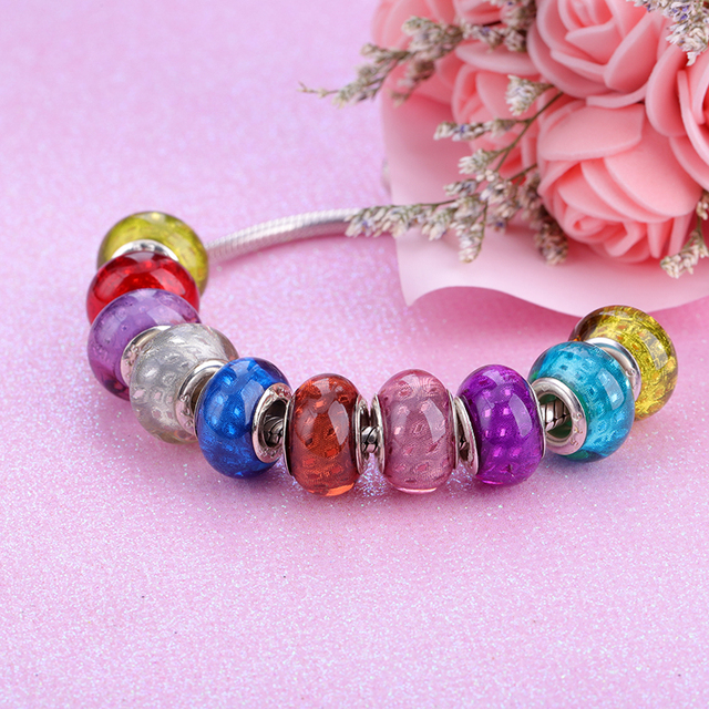 2019 New European Colorful Lampwork Glass Beads Murano Aolly Charm Bead Fit Pandora For Girl DIY Bracelets Bangles Women Jewelry