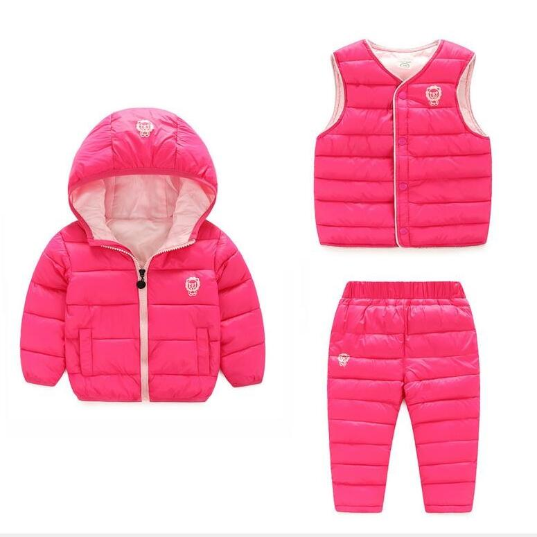ФОТО new winter boys girls clothing sets kids keeping warm long sleeve jacket + vest + pants 3 piece suit children thick clothing set