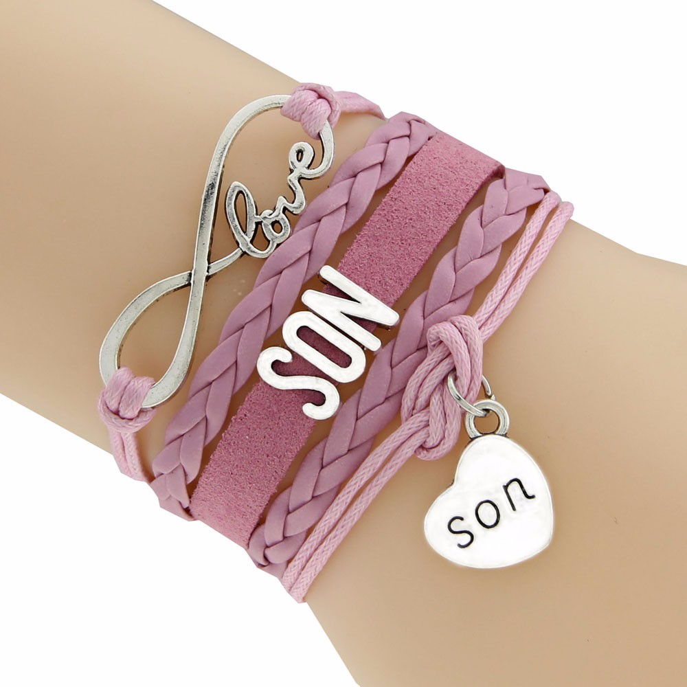 Infinity Love Suede Cord Bracelet Wording Son 6 Colors Braided Bracelet Drop Shipping Europe Style