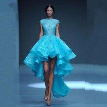 Spitze Blau Elegante High Low Runway Kleider 2017 Oansatz Tiered geraffte Marke Türkische Abendkleid Maxi Party Kleider robe de soiree