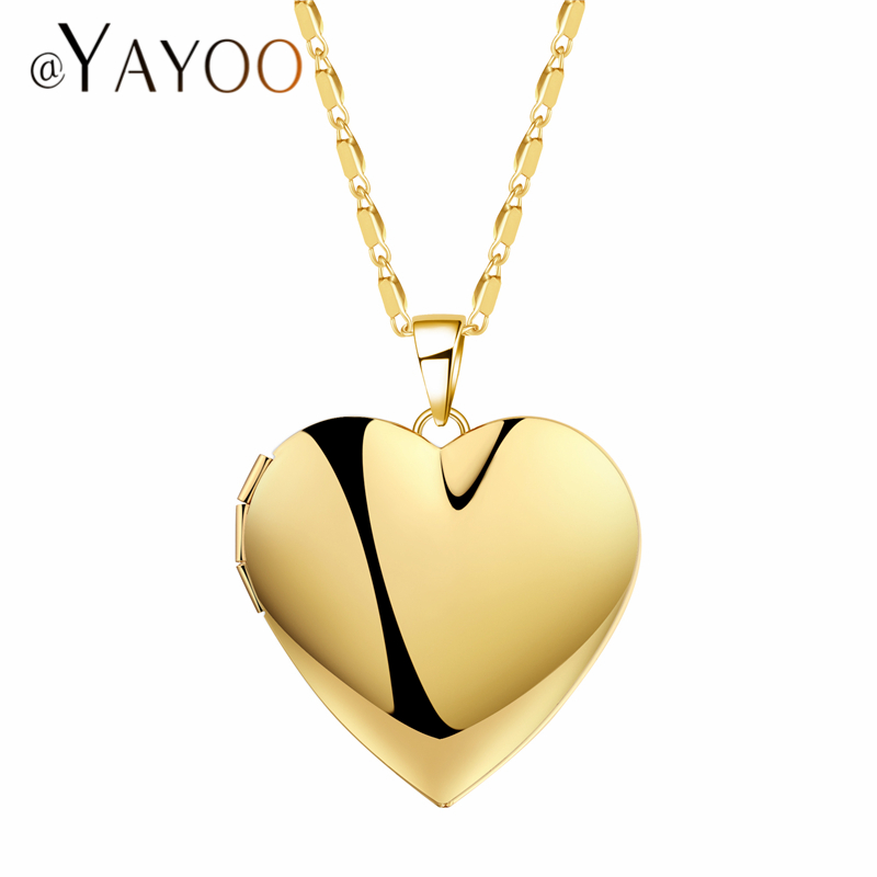 AYAYOO Women Locket Necklaces & Pendants Photo Vintage Necklace Silver/Gold Color Choker Wedding Metal Heart Long Necklaces ...