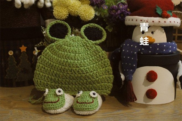 Handmade Crochet 100% Acrylic Baby New Hat Shoes Set animal  appliques for babies 0-12 months