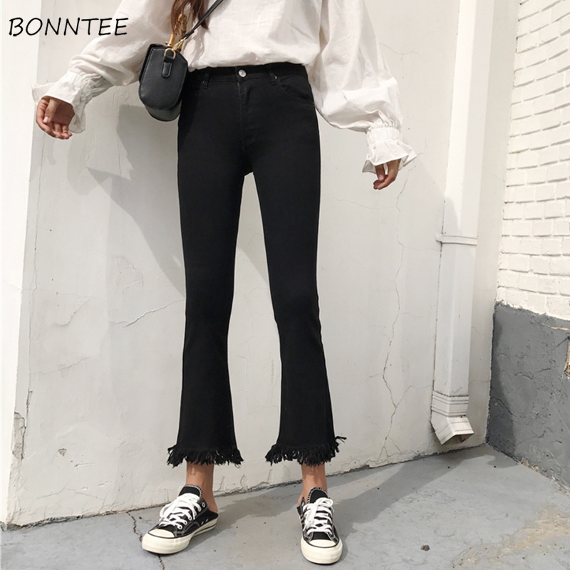 Jeans Women Elastic Slim Ripped High Waist Ankle-length Flare Pants Korean Style All-match Womens Zipper Fly Simple Daily Chic