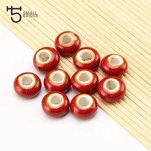 14mm Large Hole Ceramic Beads Flower Glazed For DIY Accessories Jewelry Making Earring Loose Charm Porcelain WholesaleT173