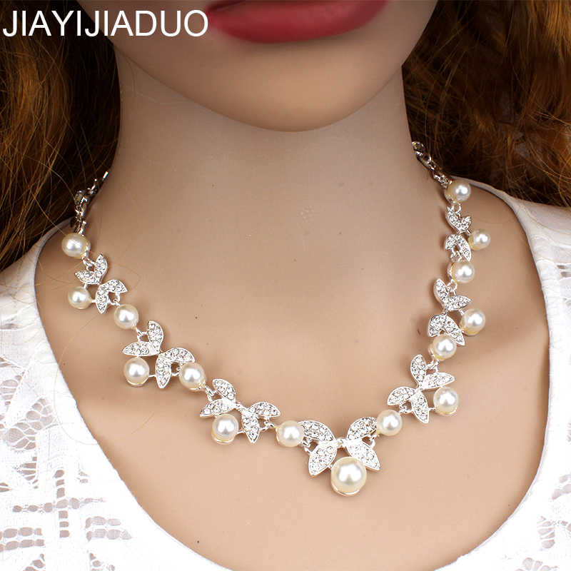 jiayijiaduo Women's Jewelry Silver Color Chokers Necklace Fashion Imitation Pearl Necklace Jewelry Bridal Dress Accessorie