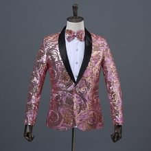 Mens Pink Gold Flower Sequins Fancy Paillette Wedding Singer Stage Performance Suit Jacket Annual DJ Blazer With Bow Tie(China)