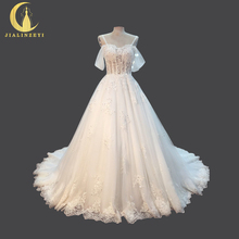 JIALINZEYI Sexy Boat Neck Lace Appliques Beads A-line Real Pictures Bridal Wedding Dresses Wedding Gown 2018