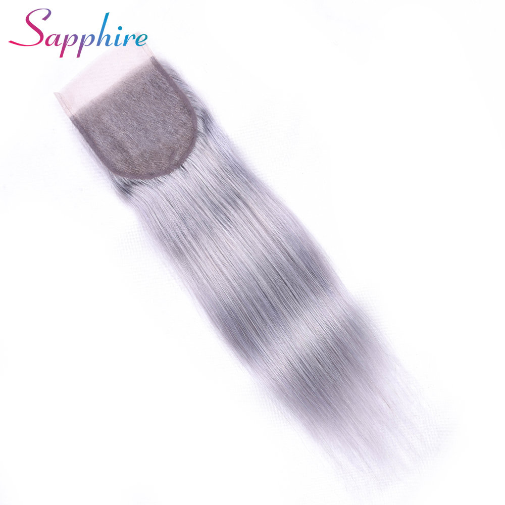 Sapphire Straight Remy Human Hair Bundle With Closure Grey# Color For Hair High Longest Hair 4*4 Lace Closure Free Shipping