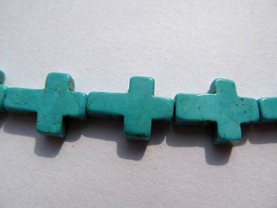 Perles en vrac turquoise en vrac croix bleu vert bijoux perle 12x16mm-10 brins 16 poucesPerles en vrac turquoise en vrac croix bleu vert bijoux perle 12x16mm-10 brins 16 pouces
