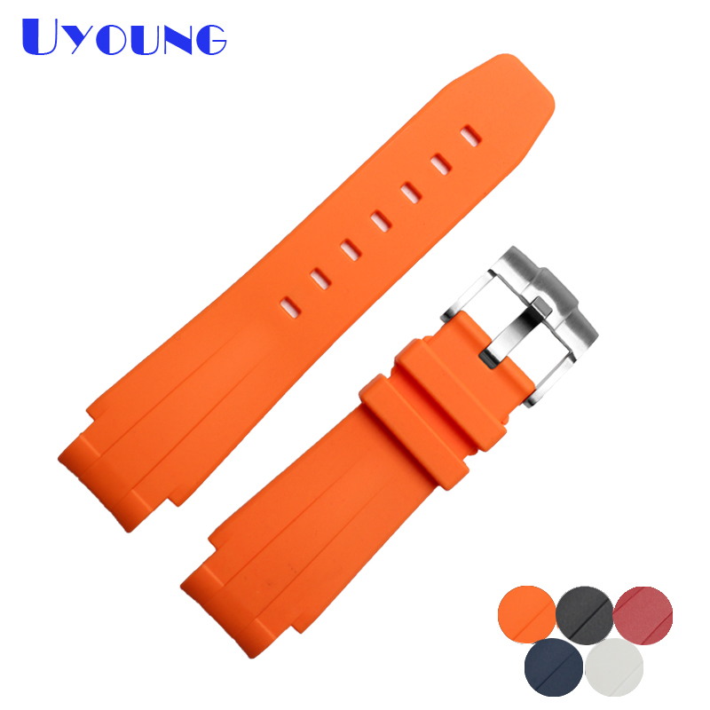 UYOUNG Quality Silicone Rubber watches band 21mm bracelet for men waterproof Convex interface watch belt u convex pouch color block spliced edging band boxer brief