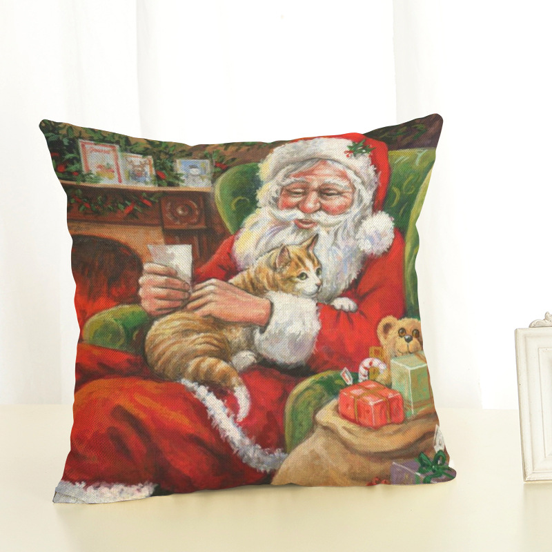 New Year Christmas Decorations For Home Christmas Pillow cover Santa Claus and Dog Cotton Linen Pillowcase Office Home Cushion (1)