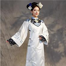 women elegant cheongsam dress TV Play performance wear Qing Dynasty Princess Costume White Embroidery Theatrical Robe