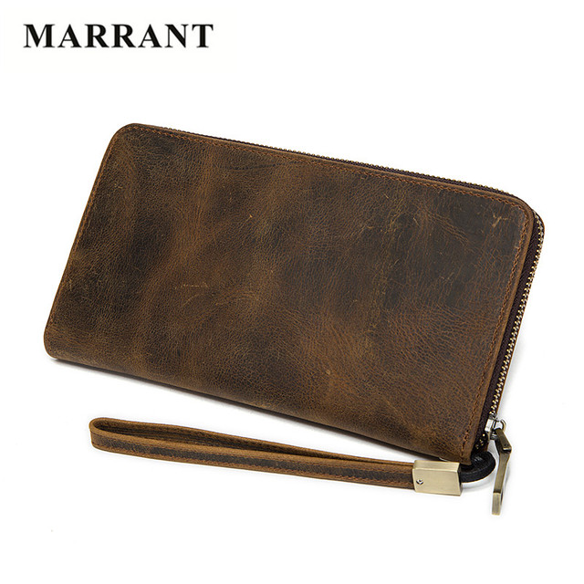 MARRANT Men Clutch Bag Fashion Genuine Leather Wallet Men New Brand Wallets Male Long Wallets Purses with ID Credit Cards Holder