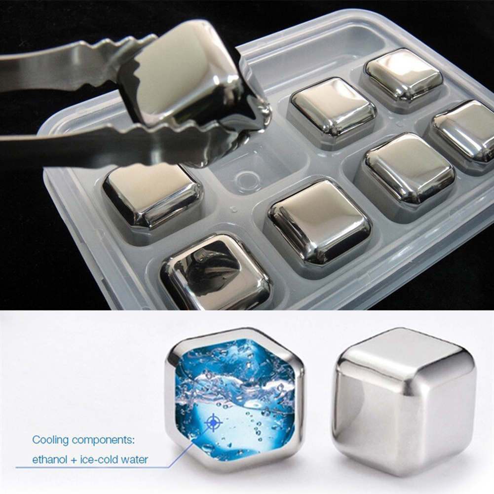 Free Shipping 4X 6X 8X Whisky Wine Bear Cooler Ice Balls Stainless Steel Cubes+Clip Physical Cooling with Plastic box