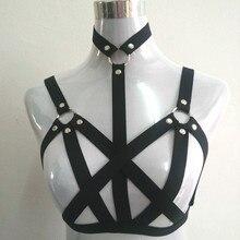 new fashion pastel goth O ring studded garter belt gothic bust bondage bra sexy women cage bondage lingerie top black retail