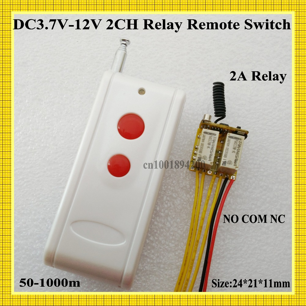Micro 2 CH Relay Remote Switch 3.7v 4.5v 5v 6v 7.4v 9v 12v Button Remote Push NO COM NC Small Volume Contact Wireless Switch 2CH