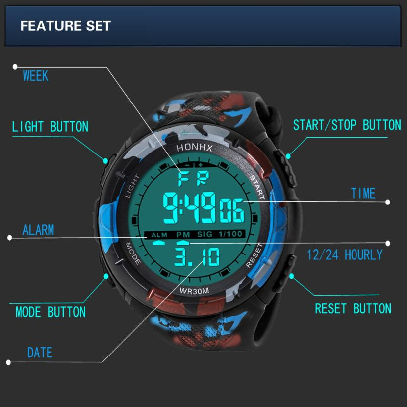 Mens Watchs Fashion Waterproof Sports Watch LCD Digital Quartz Watch Stopwatch Silicone LED Multifunction Electronic Watches #F