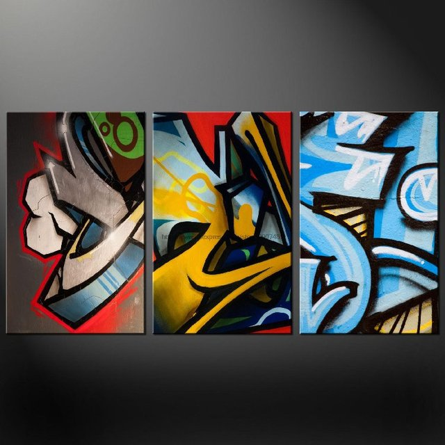Graffiti Set Of Three Canvas S Picture Wall Art Oil Paintings Trees Roller Blinds Decor Modern Impr